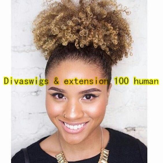 Short 100 Human Hair Kinky Curly Drawstring Ponytail