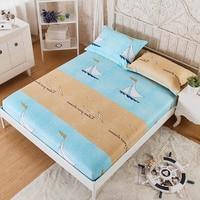 100% Cotton Modern Elastic Bed Sheet Queen Size Navigation Flower Pattern Comfortable Sleep Children Fitted Sheet Mattress Cover