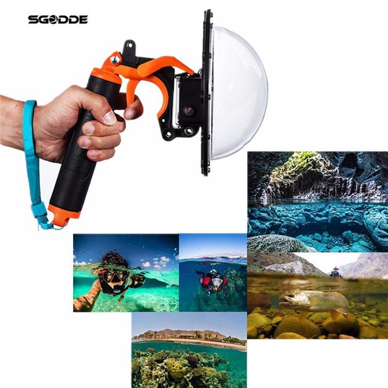 Underwater Diving Dome Port Fish Eyes Lens Cover Diving Dome Port Lens Float Handgrip+Trigger For Gopro Hero 4 Pool Accessories