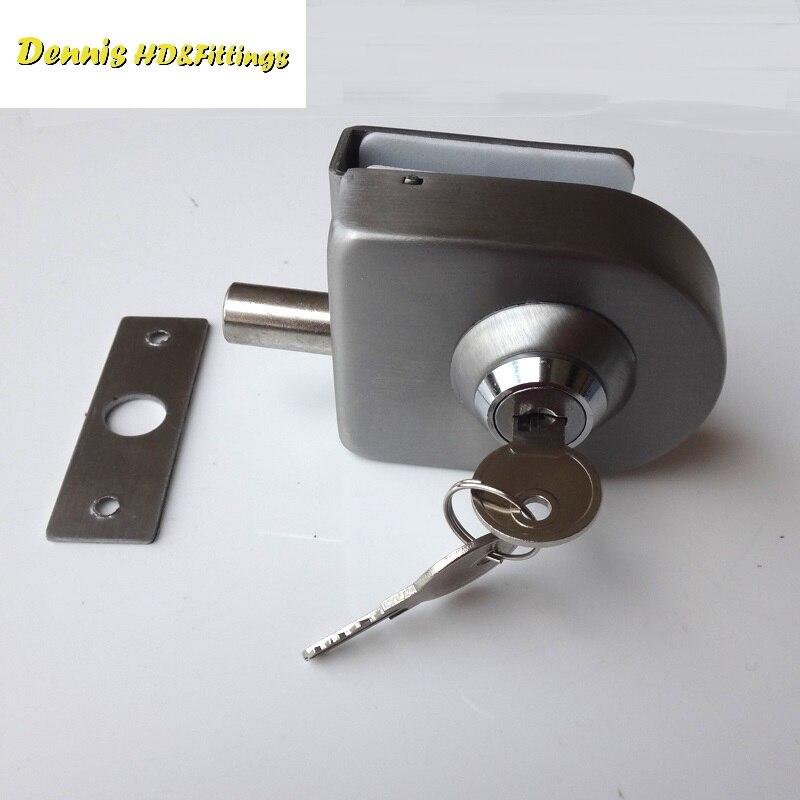 Stainless Steel Entry Gate 10-12mm Glass Swing Push Door Lock Locks W Key Single Side