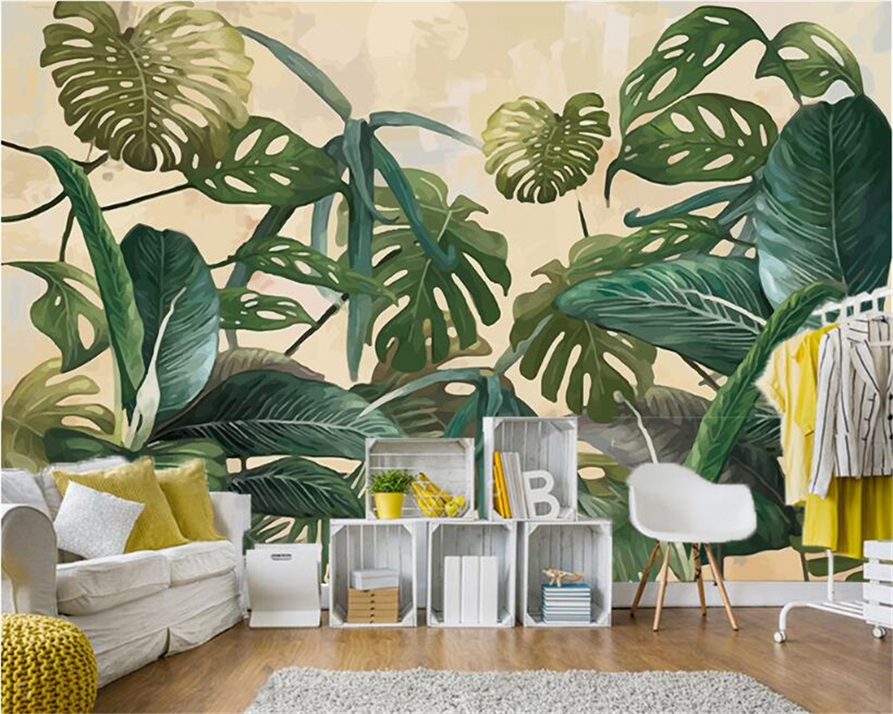 beibehang Antique wallpaper tropical rain forest palm Plantain Leaf living room TV bedroom background papel de parede wall paperbeibehang Antique wallpaper tropical rain forest palm Plantain Leaf living room TV bedroom background papel de parede wall paper