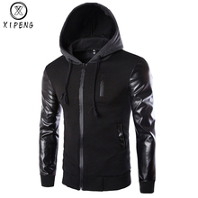 Mens Hoodies Patchwork Leather Sleeve Fashion Men Jacket Coat Brand Sweatshirt Slim Fit Pullover Tracksuits Masculino