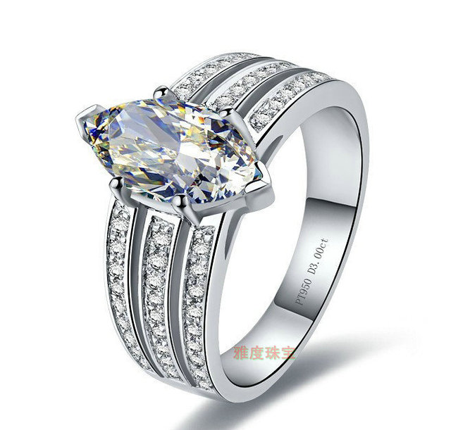Luxury three tier 3 CT Sona Synthetic stone engagement rings