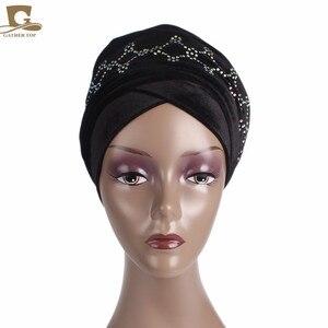 Image 2 - Novo Luxo magia Veludo Nigeriano Diamante Cravejado Extra Longas mulheres muçulmanas Cabeça Turbante envoltório Lenço Mulheres Hijab Turbante