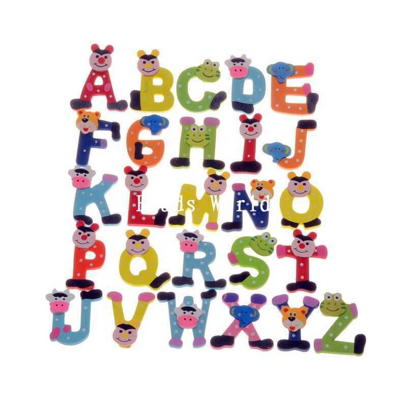 26 шт. милые детские развивающие игрушки Алфавит/Письма A-Z обучения Дерево магнит на холодильник украшение дома 23- 42 мм (W04463 x 1)