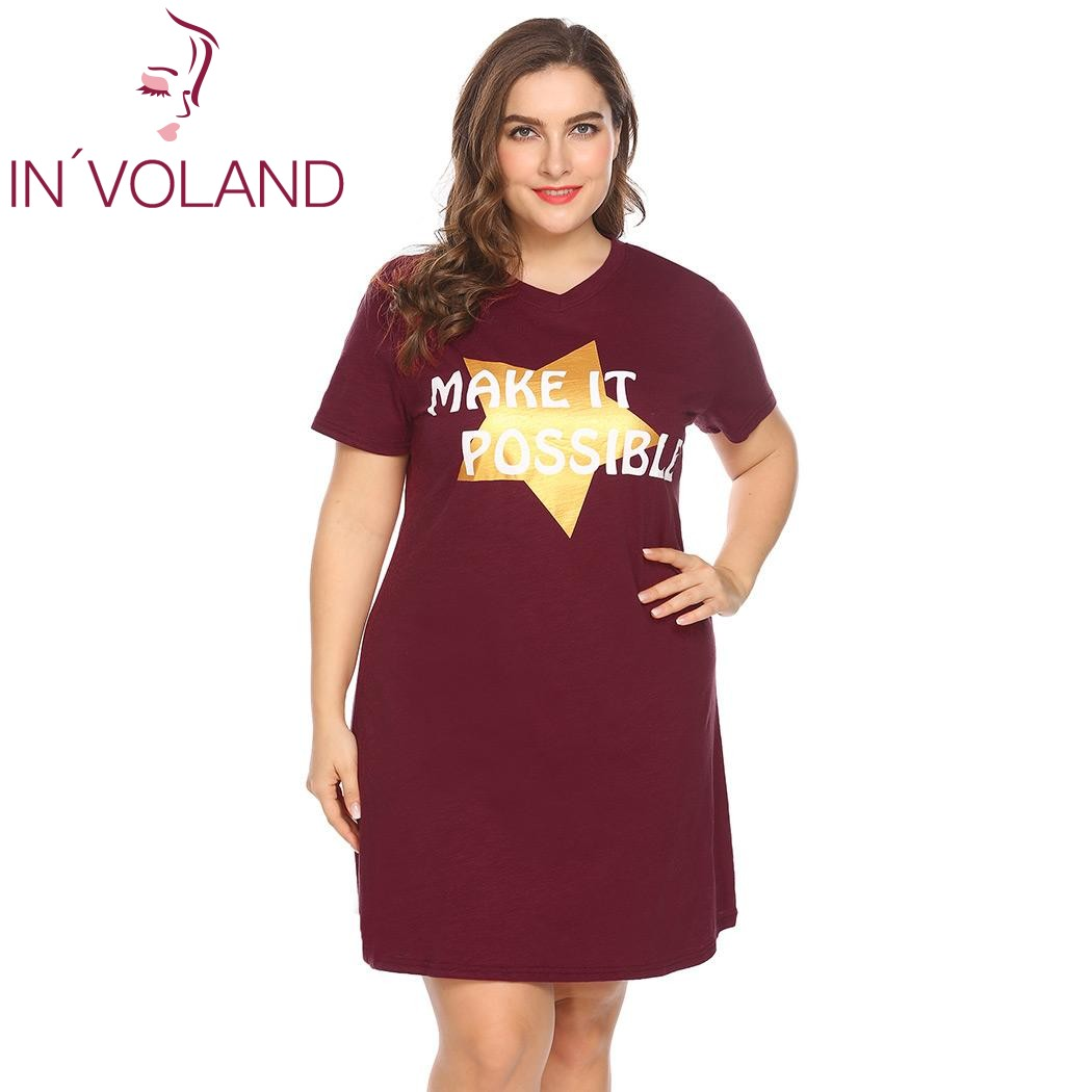 IN'VOLAND Plus Size Women Sleepwear Dress XL-5XL Spring Summer Letter Star Print Large   Sleepshirt     Nightgown   Lounge Big Size