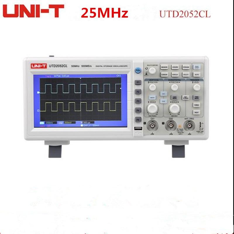 UNI-T UTD2025CL 25MHz 250Ms/s USB Digital Storage Oscilloscope DSO 2Channels 7''TFT LCD Scopemeter W/ USB OTG owon hds1021m digital storage oscilloscope dso 1 channel 20 mhz scopemeter 100 msa s