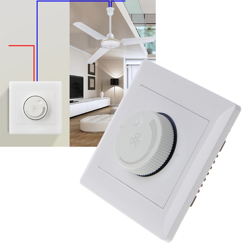 220V 10A Adjustment Ceiling Fan Speed Control Switch Wall Button Dimmer Switch Drop Ship No28