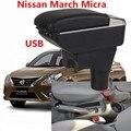 Для Nissan March Micra K13 MK4 IV подлокотник коробка для хранения содержимого центрального магазина с подстаканником пепельница USB интерфейс 2010-2017