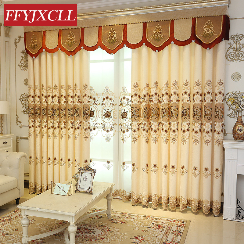 US $14.52 56% OFF|Classic Embroidered 85% Blackout Curtains Tulle For  living Room Bedroom Kitchen Window Curtains Valance Drapes Home Decor-in ...