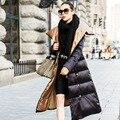 Mujeres largo de down escudo súper larg extra largo puffer larga de las señoras abrigos chaqueta 2016 mujeres del invierno abrigos de invierno cálido