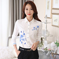 2017 New Fashion Casual Women Shirts Office Ladies Chiffon Blue-and-white Print Long Sleeve OL Tops Female Slimming Tee 2XL 3XL
