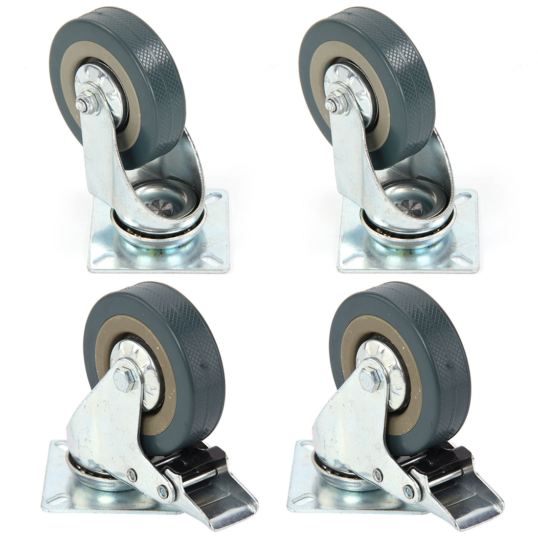 Set Of Heavy Duty 2.5/3/4/5 Inch Rubber Swivel Castor Wheels Trolley Caster Brake 2 With Brake + 2 Without Brake Universal Wheel