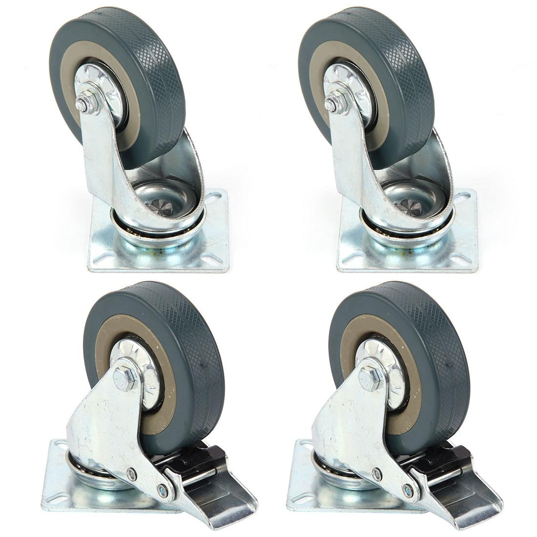 Set Of Heavy Duty 2.5/3/4/5 Inch Rubber Swivel Castor Wheels Trolley Caster Brake 2 With Brake + 2 Without Brake Universal Wheel