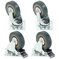 Set Of Heavy Duty 50x17mm Rubber Swivel Castor Wheels Trolley Caster Brake 25KGModel 2 With Brake