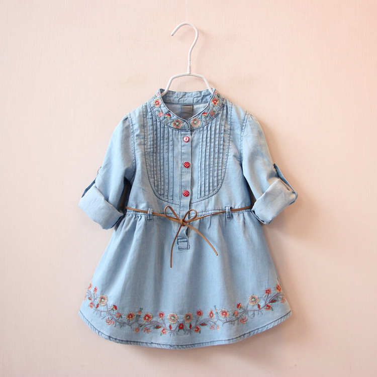 2017 New Autumn Baby Girl Dress Children Lace-up Dress Jean Cowboy Shirt Neckline Embroider Fold Flower Princess Party Dress LCY 2017 new british children s jacket girl autumn children beautiful cowboy trench coat autumn
