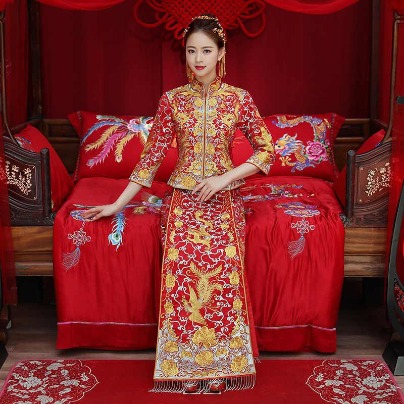 ドラゴンガウン花嫁のウェディングドレス中国スタイル衣装フェニックスチャイナイブニングドレスショーの服スリムスタイル結婚式のための