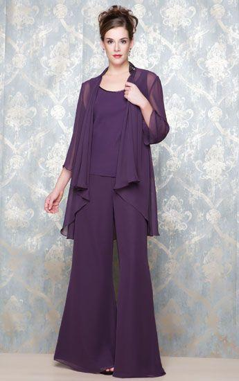 Motheru0026#39;s Pant Suits Elegant Evening Outfits Women 3PCS Casual Wear Mother Of The Groom Bride ...