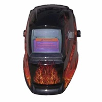 Llamas de fuego Continuo Ajuste Auto-Oscurecimiento Solar powered Soldador Máscara Cráneo lente de Casco de soldadura Herramientas de la máquina