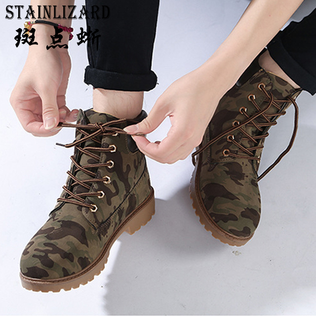 STAINLIZARD Fashion Autumn Winter Women Boots Casual Sweet Boots Soft Lace- Up Women Martin Boot