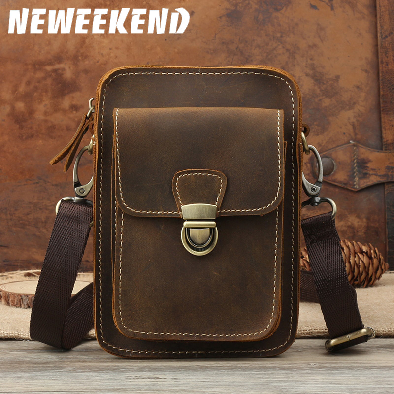 NEWEEKEND Waist Bag Retro Genuine Leather Cowhide Crazy Horse Small  Shoulder Crossbody Phone Cash Money Bags For Phone 1123