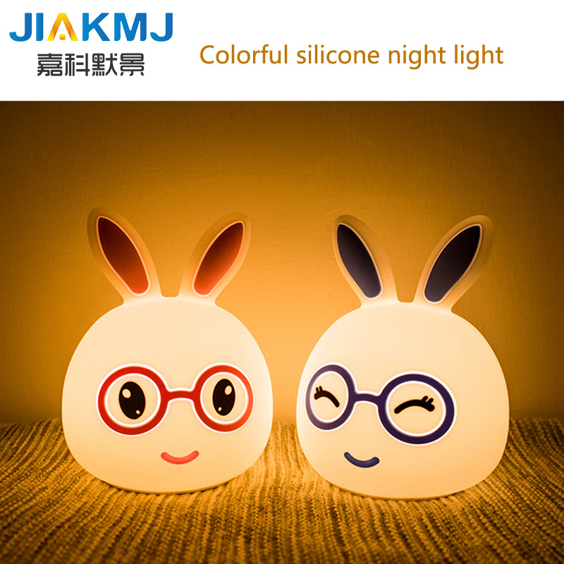 Factory direct sales led colorful Meng rabbit silicone lights night light USB rechargeable lamp creative gifts Christmas gifts h ...