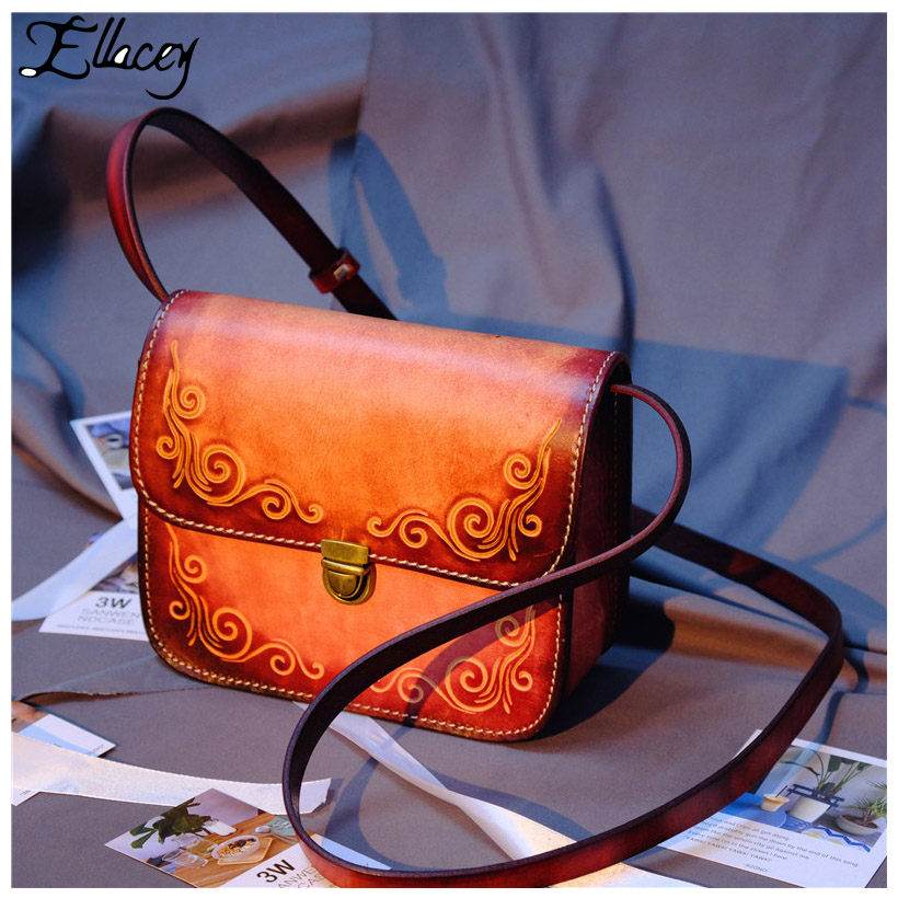 New 2017 Handmade Cow Leather Small Messenger Bags Vintage Carved Genuine Leather Handbags Women Shoulder Mini Crossbody Bags 2018 women bags handmade genuine leather small messenger crossbody bags embossed leather shoulder women bags day clutches