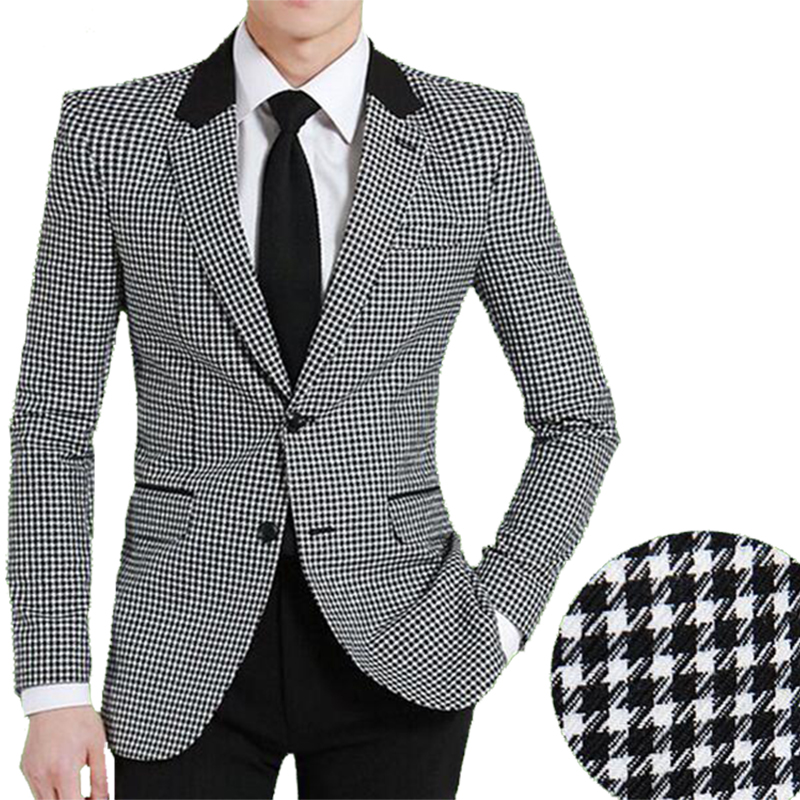 Men Woolen Suit Jacket Slim Fit Bird Plaid Fashion Coat New Hot Sale England Style Single Breast High Quality Business Jacket