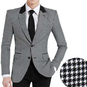 Men woolen suit jacket Slim fit bird plaid fashion coat New hot sale England style single breast high quality business jacket - DISCOUNT ITEM  11% OFF All Category