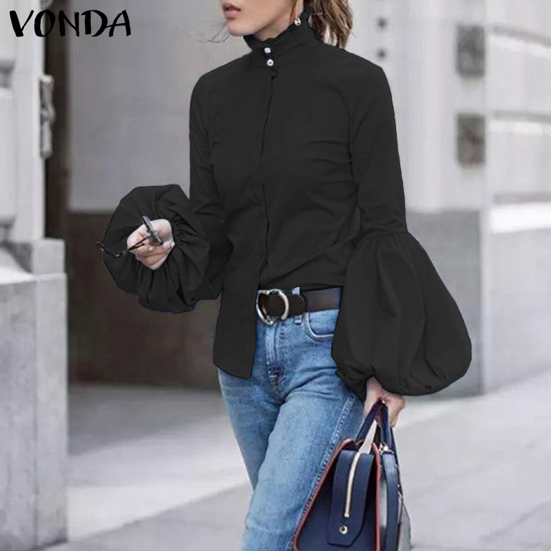 Plus Size Tunic Women's Blouse VONDA 2020 Autumn Long Lantern Sleeve Shirt Office Lady Blusas Casual Buttons Turtleneck Tops