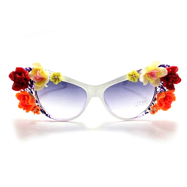 914ab846d99 Handmade Polymer clay flower cat eye sunglasses for women trendy elegant  vacation beach eyewear glasses accessories