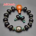 Black Agate 3 Eyes Dzi Beads Vintage Tibetan Wrist Malas Buddhist Prayer Bracelets Guru Bead For Men Jewelry 5pc/lot