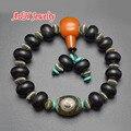 Preto 3 olhos Dzi tibetano Vintage pulseiras Guru Bead budista oração pulso Malas para homens jóias 5