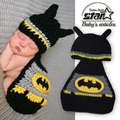Handmade Knitted Costume Batman Baby Boy Girl Outfit Cartoon Suit With Hat Set Infant Halloween Costume Photography Prop