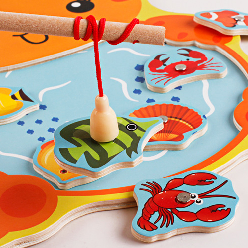 Baby-Kids-Magnetic-Fishing-Game-Board-Wooden-Animal-Frog-Cat-Fishing-Toy-with-2-Fishing-Rod-5