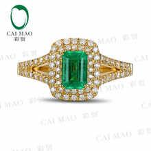 CaiMao 0.74 ct Natural Emerald 18KT/750 Yellow Gold 0.36 ct Round Cut Diamond Engagement Ring Jewelry Gemstone