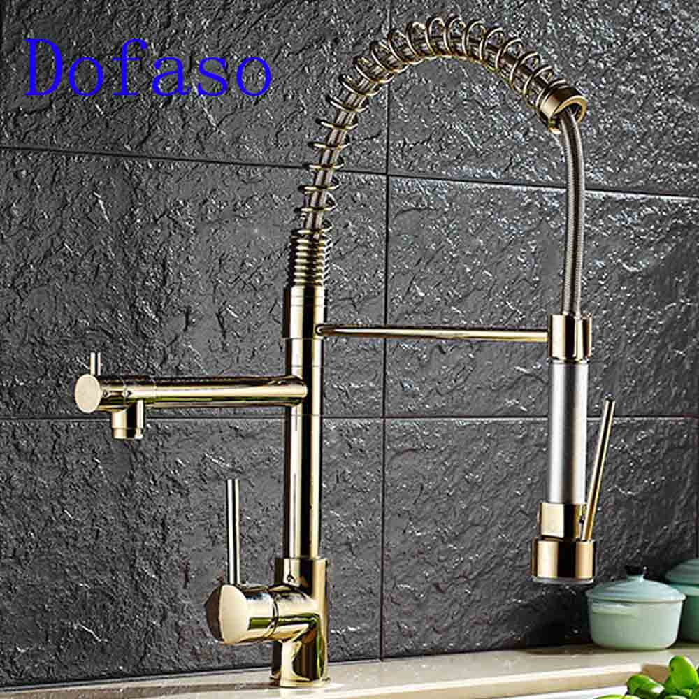 Dofaso brass spring taps luxury spring kitchen faucet gold hot and cold Water mixer faucets 360 rotate sink Kitchen Faucet in Basin Faucets from Home Improvement