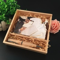 New Wooden Wooden Ball point pen with photo box (170*170*35 mm) usb 2.0 memory flash stick pendrive