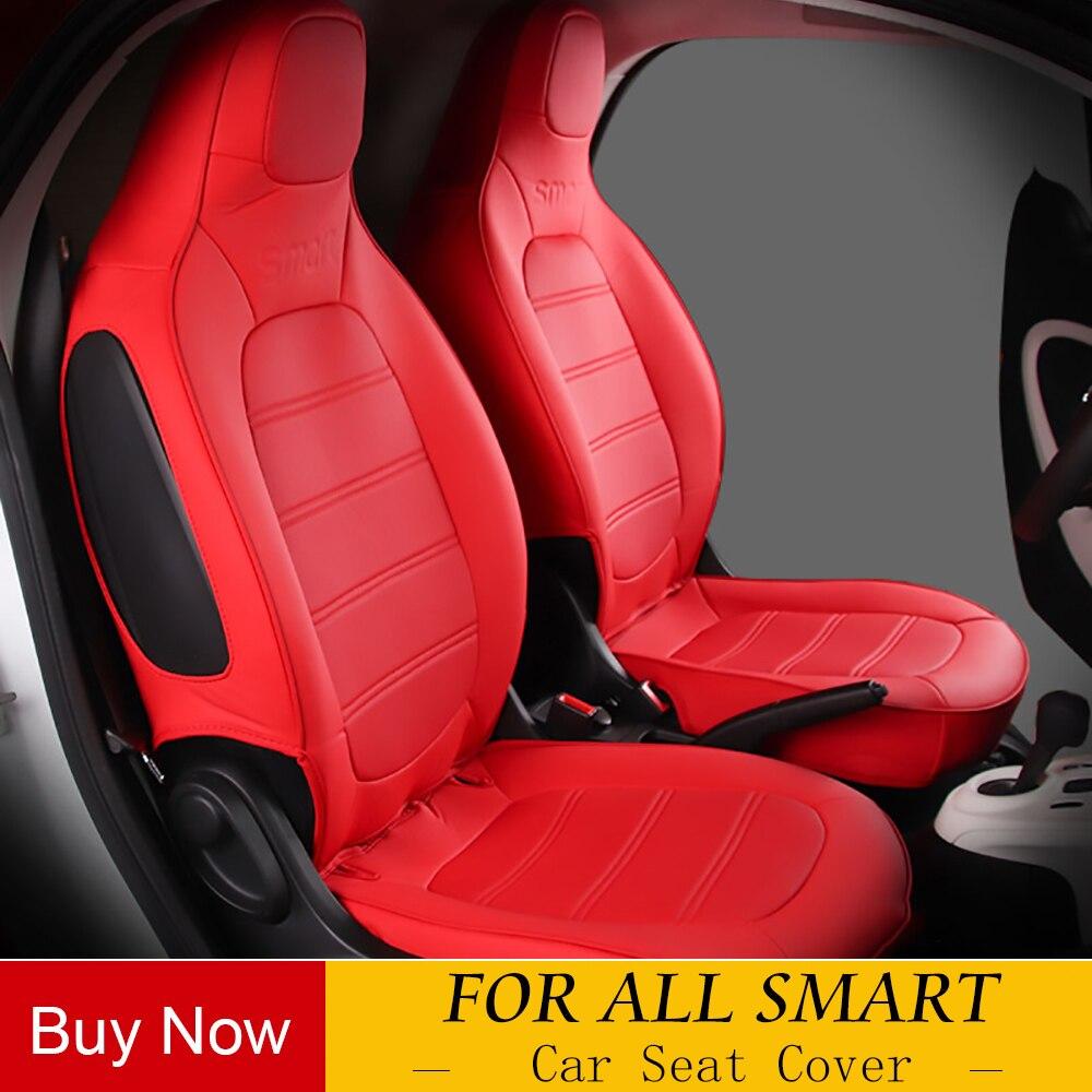 PU cuir broderie siège de voiture couvre Set voitures couvre style siège de voiture protecteur pour 2009-2014 Mercedes SMART FORTWO 451 453