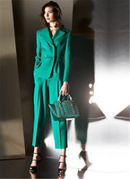 Green Pant Suits for Women Office Business Suits Formal Work Wear Sets Uniform Styles Elegant Pantsuit Custom Made