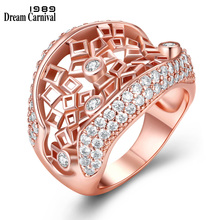 DreamCarnival 1989 New Hollow Square Fashion Jewelry White Zirconia Bijoux Rose Gold Color Moda Bague Rings for Women WA11450
