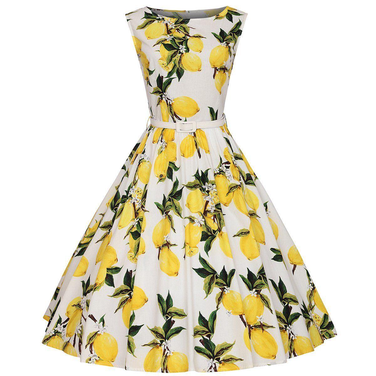 Vintage verano de las mujeres vestidos de 50 s 60 s lemon party print vestidos d