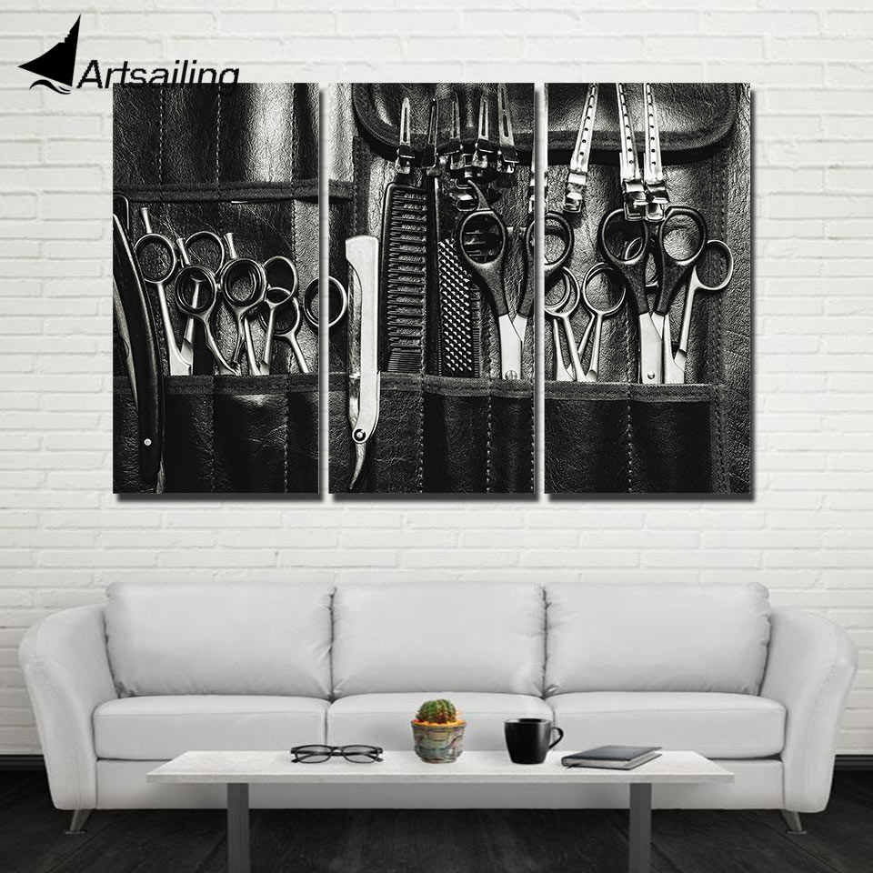 ArtSailing 3 panel Canvas wall art Scissors Barber Supplies Modern home decoration pictures for living room posters cu-257