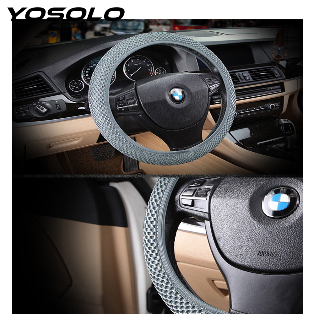 YOSOLO Car Steering Wheel Cover Sandwich ice silk elastic steering wheel cover Fabric Breathability Handmade Fit For Most Cars