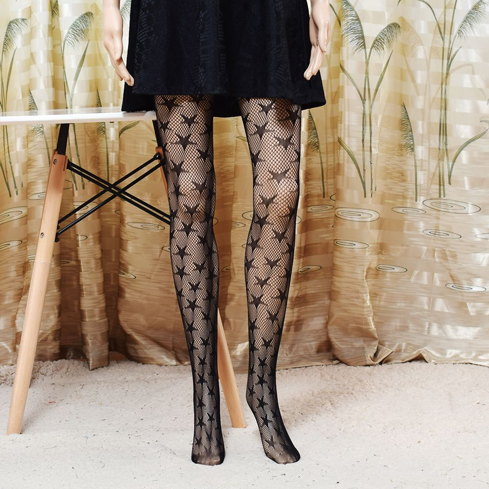 22e3a85a6 Fashion Cool Star Printed Fishnet Tights Hollow Out Sexy Mesh Pantyhose  Punk Pattern Pantyhose Black Women Tights