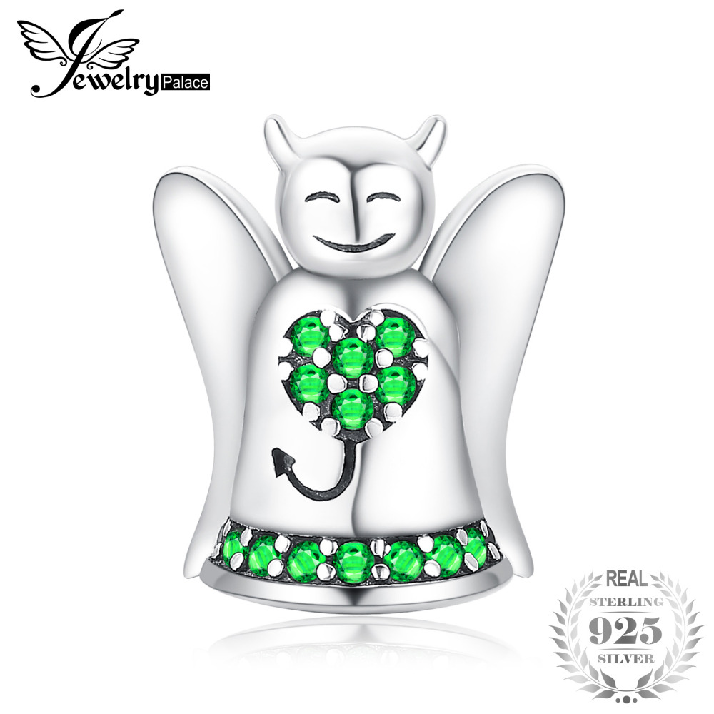 JewelryPalace 925 Sterling Silver Sweet Angel Devil Green Cubic Zirconia Heart Charm For Women As Beautiful Gifts New Hot SaleJewelryPalace 925 Sterling Silver Sweet Angel Devil Green Cubic Zirconia Heart Charm For Women As Beautiful Gifts New Hot Sale