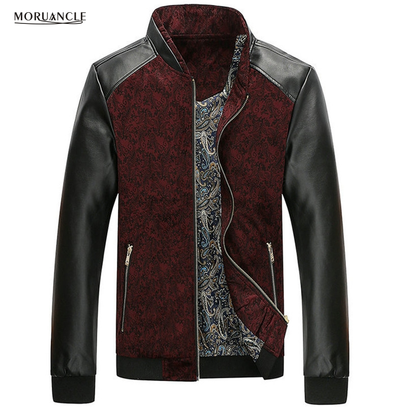 MORUANCLE Spring Autumn Mens Floral Jackets Leather Patchwork Slim Fit Flower Printed Jacket Male Stand Collar Plus Size M-4XL