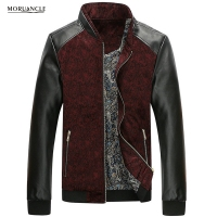 MORUANCLE Spring Autumn Mens Floral Jackets Leather Patchwork Slim Fit Flower Printed Jacket Male Stand Collar Plus Size M 4XL
