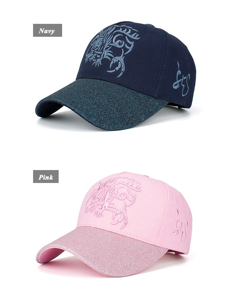 Embroidered Chinese Dragon Baseball Cap - Navy Cap and Pink Cap Front Angle Views