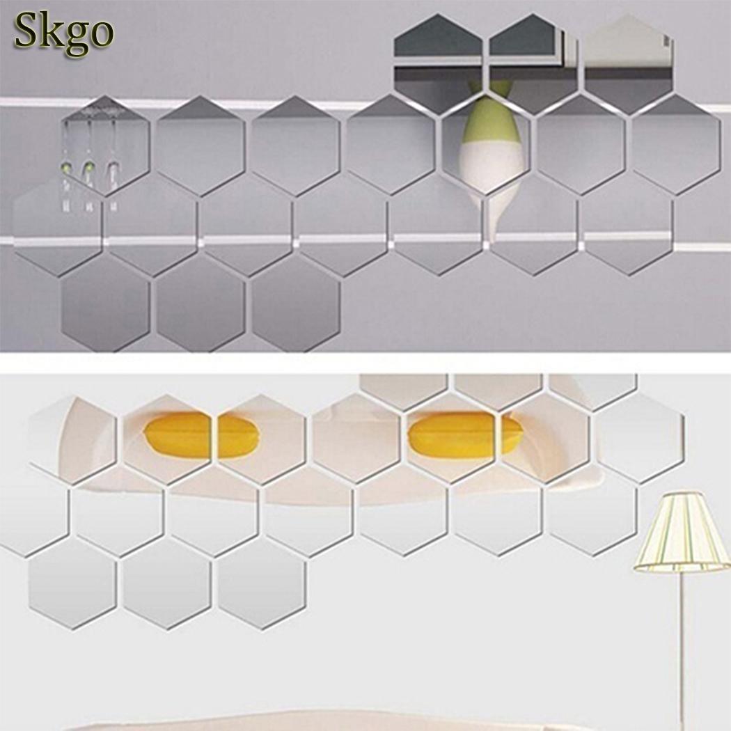 3D 12Pcs Hexagon Acrylic Mirror Wall Stickers DIY Art Wall Decor Stickers Home Decor Living Room Mirrored Decorative Sticker 1